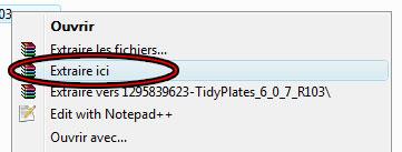 """Décompressez le fichier sans créer de dossier supplémentaire (""""extraire ici"""" sur Winrar)"""