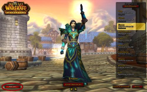 Page de sélection des personnages