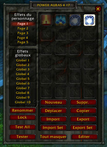 Menu de l'addon Power Aura